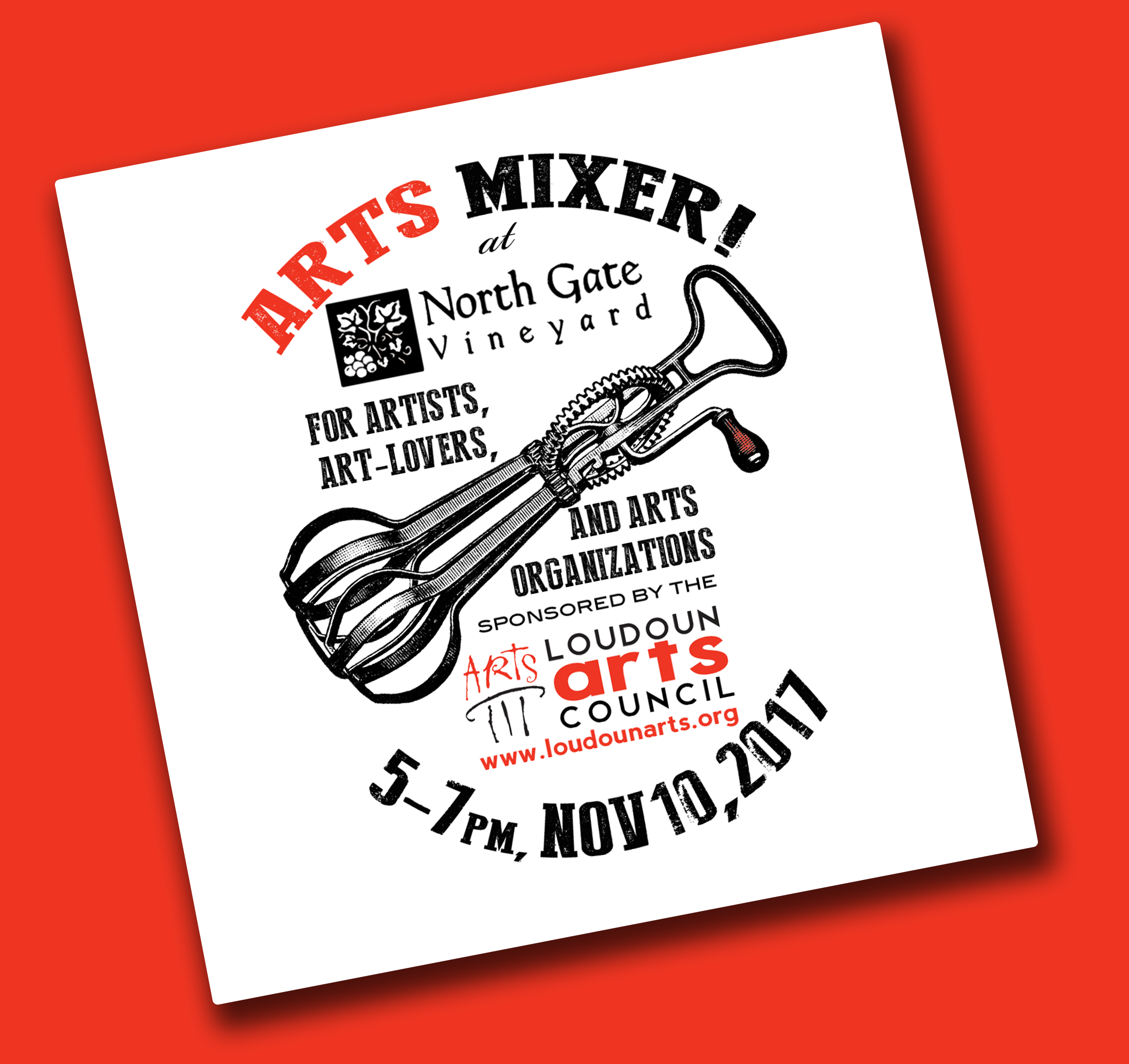 The first LAC Arts Mixer will be at North Gate Vineyard on November 10th