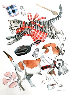 """Cats and Dogs"" Giclee by Marni Manning"