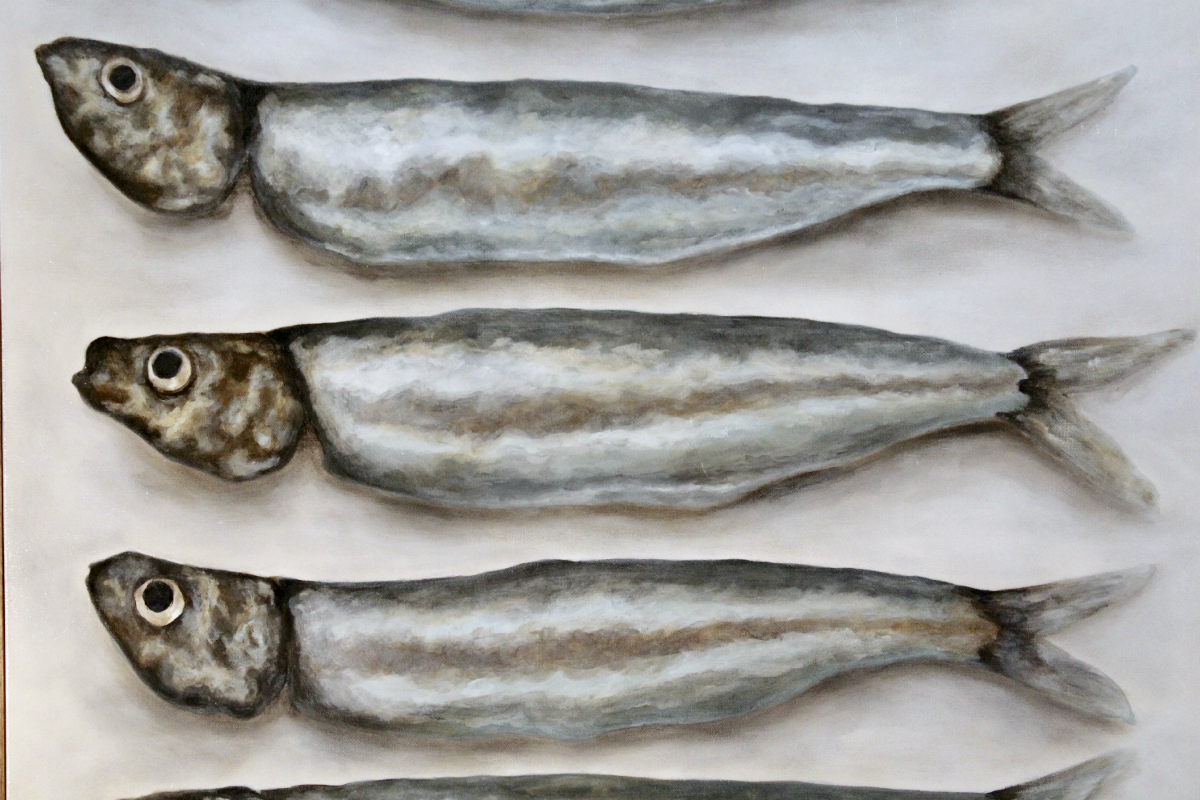"Detail of ""Fresh Sardines"" by Chelsea Elkington Neal (30"" x 48"" acrylic on canvas)"