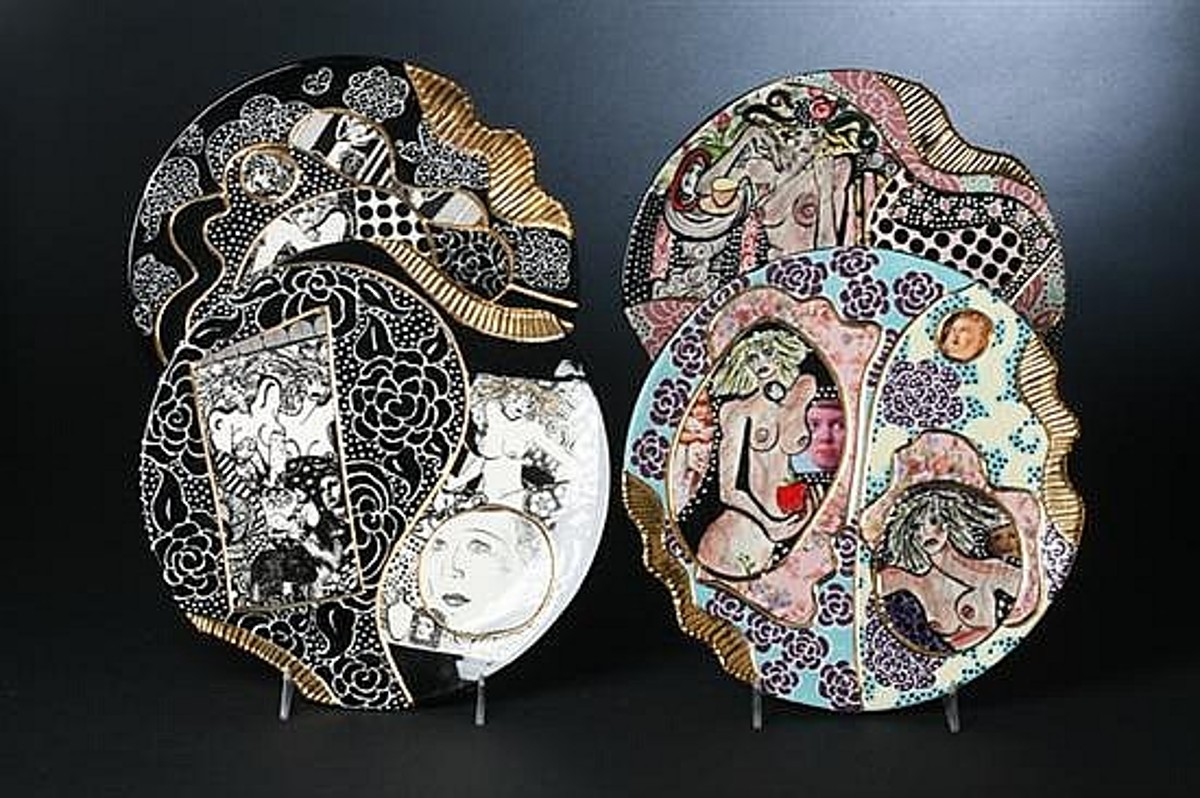 Laney Oxman works in ceramics, glass, and multimedia collage