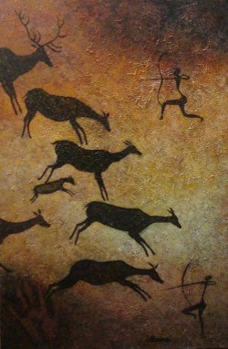 Levant Stag and Does, after Levant Cave paintings in Spain by CarolLyn Simpson