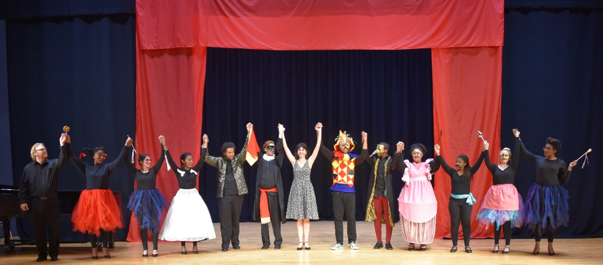 "Curtain Call with students after a performance with ""Commedia dell'arte in opera"""