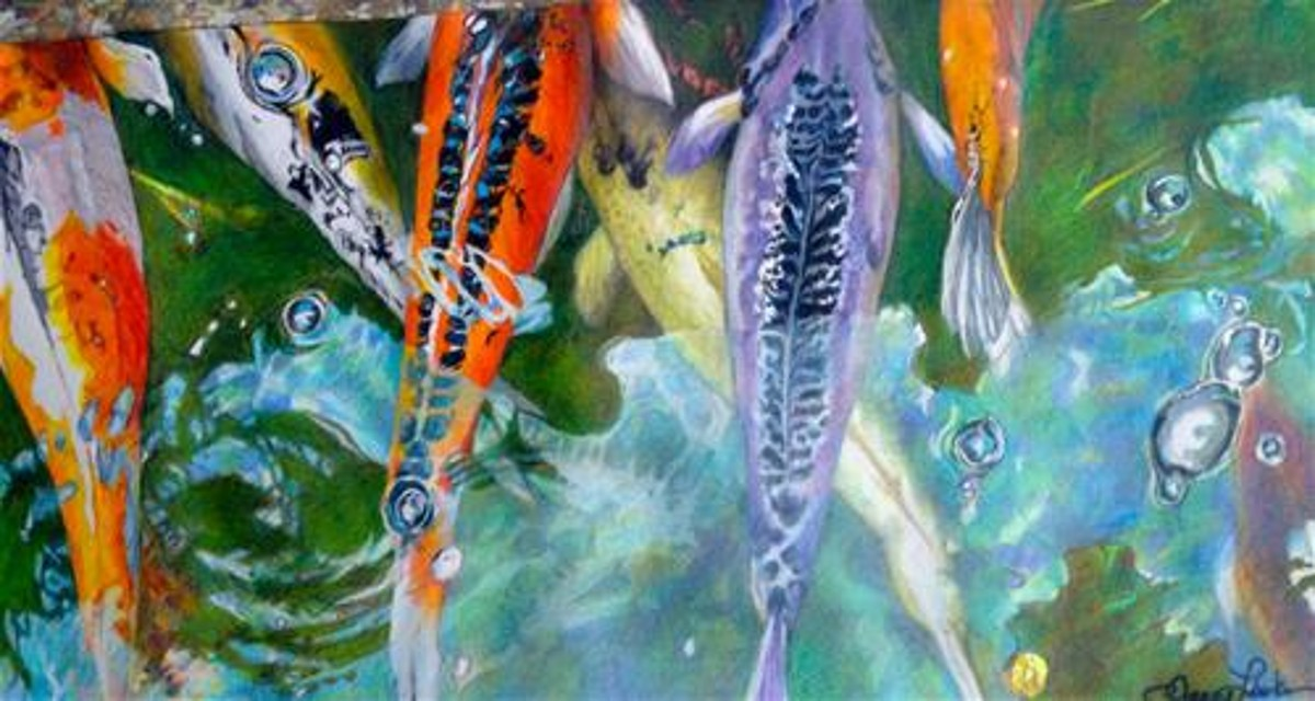 Koi Pond Painting by Nancy Lasater