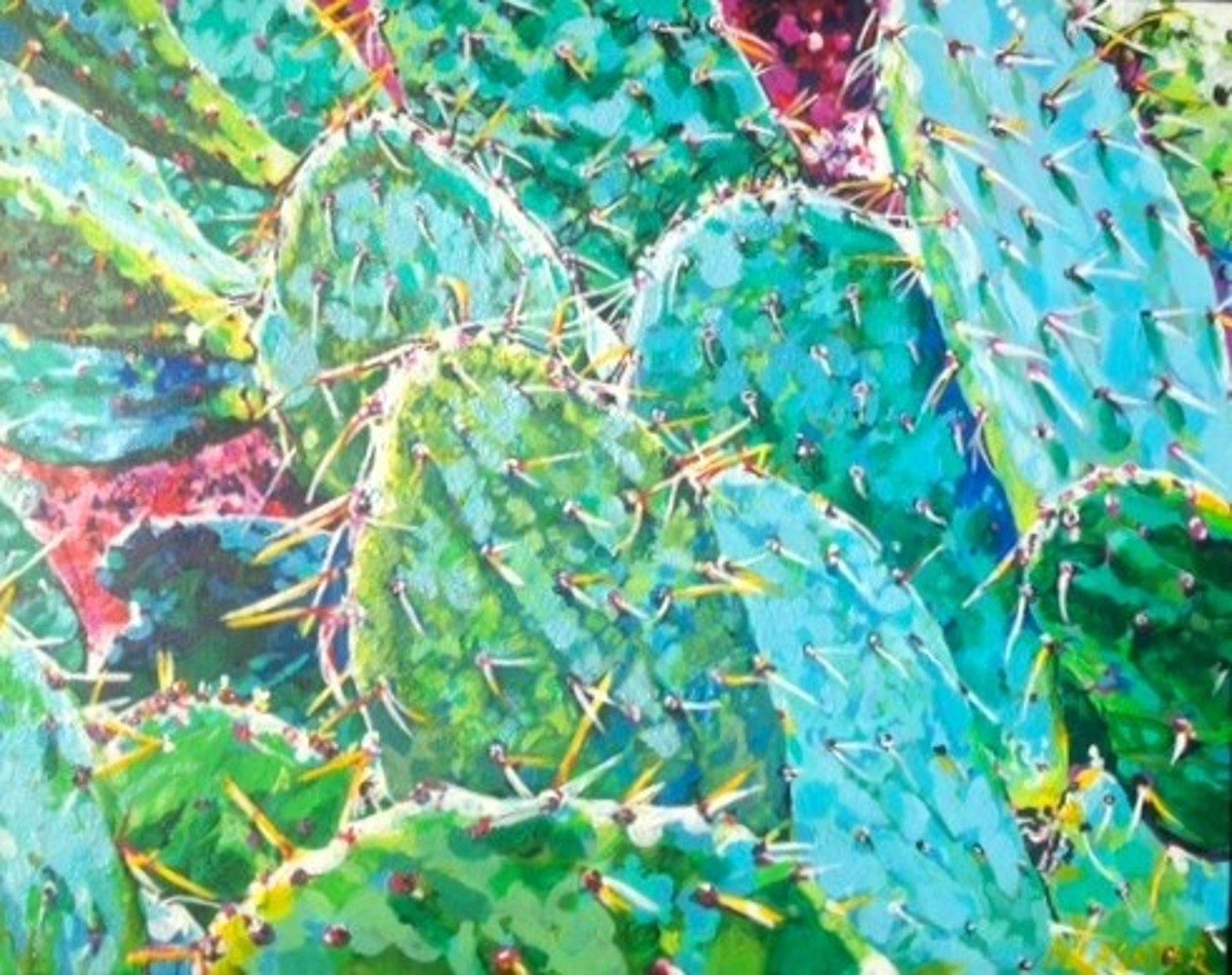 Prickly Pear Cactus Painting by Nancy Lasater
