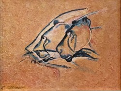 Study for Chauvet Cats after Chauvet Cave paintings in France by CarolLyn Simpson